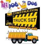 【中商海外直订】Dot to Dot Construction Truck Set Coloring Book for