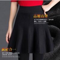 加绒加厚秋冬季女外穿假两件一体裙裤打底裤保暖弹力显瘦麻花裤裙