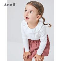 安奈儿童装女小童T恤长袖春秋装洋气绣花翻领宝宝娃娃衫上衣