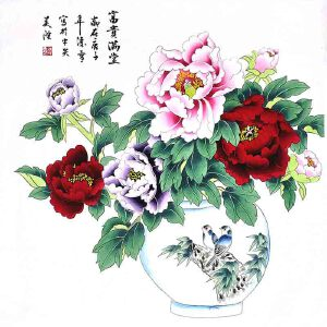 北京美协会员,北京市著名工笔画画家凌雪(富贵满堂)