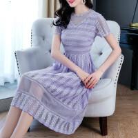 蕾丝连衣裙夏季短袖水溶镂空名媛气质有女人味的超仙网纱仙女长裙 紫色