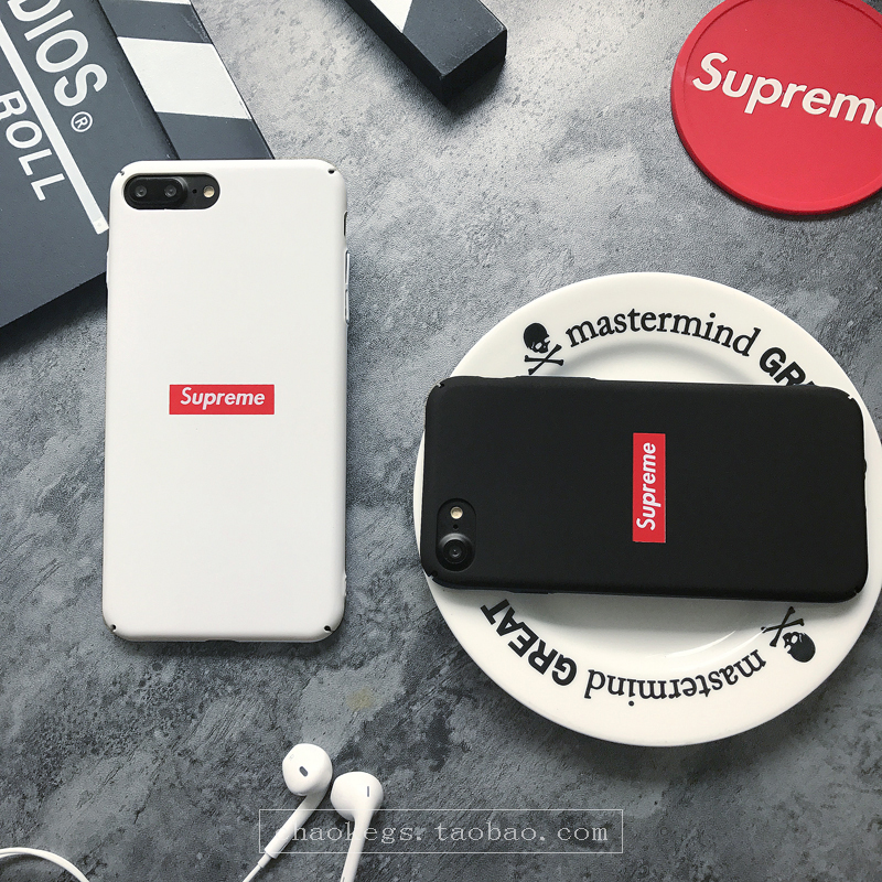 潮牌字母苹果7手机壳6简约纯色iphone6splus全包边硬磨砂p 6/6s 白色 4.7寸硬壳