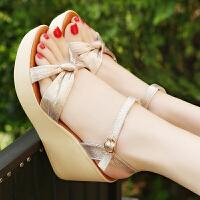 夏高跟坡跟凉鞋女防水台松糕厚底小码金色休闲女凉鞋度假女鞋