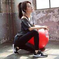 【满100减50/满200减100】Kombucha瑜伽健身三件套2019新款女士网纱透气短T文胸长裤运动套装HXF3