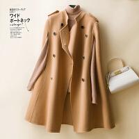2021秋冬季新款流行双面羊绒大衣女中长款毛呢外套赫本风呢子100%纯羊毛斗篷