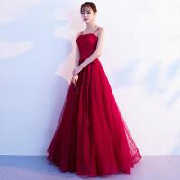 敬酒服新娘2018夏季新款红色长款吊带显瘦时尚婚礼结婚晚礼服裙女