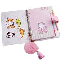 手账本活页少女心 A5A6活页记事本可爱手账套装kitty笔记日记本少女日式手帐本卡通