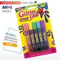 AMOS 韩国进口GCF10B5 5色闪光胶( 彩屑色) DIY儿童金粉笔贺卡相框画笔手工金粉胶画笔 当当自营