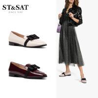 【领券减150】ST&SAT星期六2019秋季新款浅口低平跟蝴蝶结单鞋女鞋SS93111245