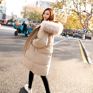 RANJU然聚2018秋季女装新品新款韩版大毛领宽松中长款修身加厚棉衣女