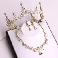 韩式新娘头饰巴洛克新娘皇冠结婚头冠婚纱配饰金色皇冠项链耳环套