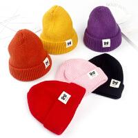 儿童毛线帽韩版新款简约保暖针织帽秋冬户外套头帽男孩女孩