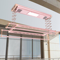 新品 电动智能晾衣架全自动升降双杆式晒衣架阳台遥控晾衣机照明四杆 可伸缩杆