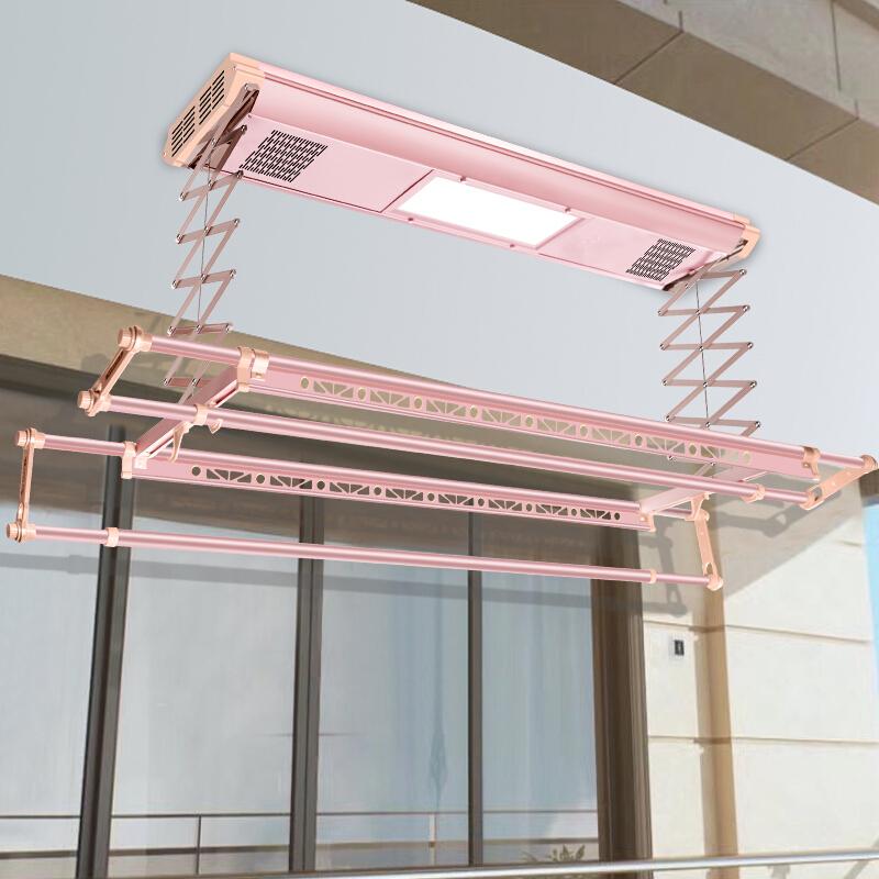新品 电动智能晾衣架全自动升降双杆式晒衣架阳台遥控晾衣机照明四杆 可伸缩杆  欢迎光临!本店为企业店铺,请放心购买。