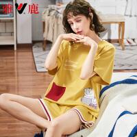 【2件3折,限时抢购】雅鹿女夏季可爱短袖纯棉睡衣薄款两件套女夏天可出门休闲家居服