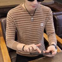 秋季男士毛衣圆领条纹冬季针织衫韩版毛衫修身线衣加厚打底衫男装