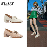 St&Sat/星期六春新款商场同款方头中跟深口单鞋女SS01111081