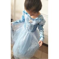 实拍冰雪奇缘灰姑娘女童儿童天鹅绒长袖连衣裙公主裙表演礼服裙子 蓝色