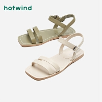 热风女鞋女士百搭复古方头平底休闲凉鞋H50W0222