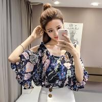 雪纺衫女夏装2018新款韩版碎花百搭上衣 宽松显瘦 印花大码