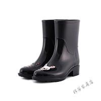 时尚手绘雨鞋女韩版中筒女士水鞋可爱雨靴防滑水靴