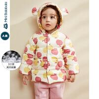 迷你巴拉巴拉婴儿羽绒服女宝宝印花羽绒外套2019冬装新品儿童上衣