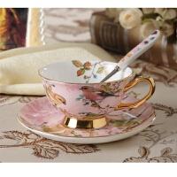 响佳欧式骨瓷咖啡杯套装创意陶瓷金边下午茶杯碟杯具带勺 鸟语花香-粉色 201-300ml
