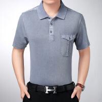 夏季中年男装半袖t恤条纹棉中老年t恤男短袖棉翻领有口袋宽松