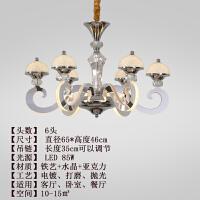 灯臂发光吊灯简欧客厅吊灯 现代简约大气水晶卧室灯欧式灯臂发光餐厅饭厅灯具