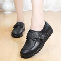 妈妈鞋单鞋舒适软底平底中老年女鞋真皮中年老人鞋奶奶皮鞋女 黑色