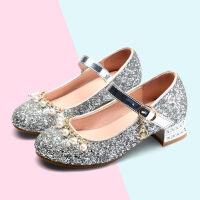 女童皮鞋高跟鞋秋冬季钢琴表演水晶礼服模特走秀演出鞋公主儿童鞋
