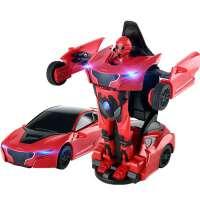 儿童带声光可变形战警口袋机器人合金变形玩具汽车