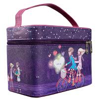 JH0152 大容量化妆包洗漱包化妆盒手提式化妆箱户外旅游收纳盒紫色手绘