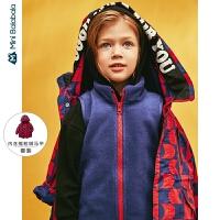 迷你巴拉巴拉儿童中长款冲锋衣外套两件套2019秋装新品男童便服