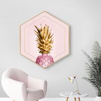 粉色浪漫北欧风格六边形装饰画ins挂画客厅餐厅壁画粉色卧室墙画 宽47.6*高55 单边27.5cm 银色框 单幅
