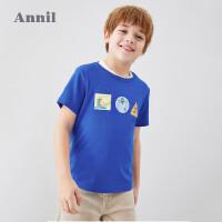 【3件3折】安奈儿童装男童短袖T恤印花2020夏季新款中大童学生纯棉圆领上衣4