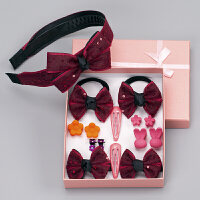 15件套�和��l��l�A�l箍�l圈公主女童素雅盒子�^� 酒�t�赓|亮片15件套