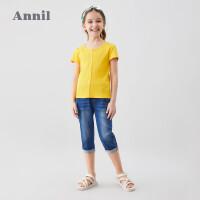 【2件3折价:71.7】安奈儿童装女童牛仔裤2020夏季新款洋气学生中大童修身韩版七分裤