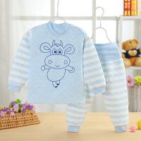 婴儿保暖加厚高腰护肚裤套装秋衣秋裤儿童棉内衣三层夹棉