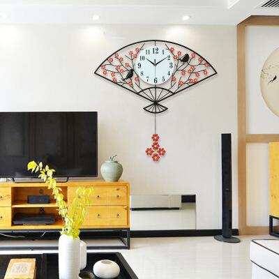 中式钟表挂钟客厅个性创意时钟家用时尚卧室电子钟中国风装饰挂表  20英寸以上