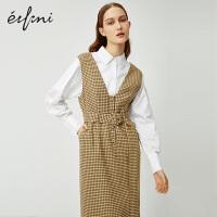 伊芙丽背带裙2020新款春装V领复古格子衣服女装连衣裙