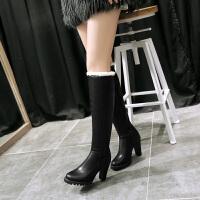彼艾2017秋冬新款甜美长靴粗跟高跟毛毛长筒女靴子磨砂高跟骑士靴修身性感长靴子