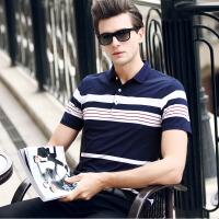 夏季有领t恤男士短袖韩版潮流半袖休闲百搭宽松条纹翻领polo衫男