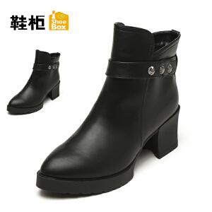 【双十一狂欢购 1件3折】Daphne/达芙妮旗下鞋柜 秋冬款低筒短靴女时尚休闲马丁靴女鞋