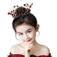 儿童皇冠头饰公主水晶发箍红色蛋糕装饰摆件生日礼物发饰