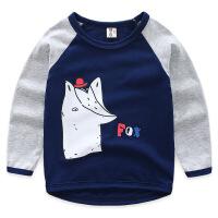 男童长袖T恤2019春装新款儿童装拼接袖卡通长袖体恤宝宝韩版衣服