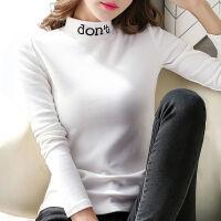 秋冬装2019年半高领打底衫女长袖T恤女韩版黑色修身体恤上衣 S 建议75-95斤