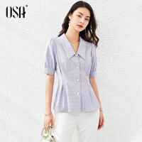 【2件3折到手价:119】OSA浅紫色衬衫OL职业装衬衣女夏季薄款2021年新款收腰泡泡袖上衣