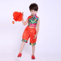六一儿童演出服男女童表演服装幼儿园秧歌服说唱中国红舞蹈服夏季 花布秧歌男款 110cm