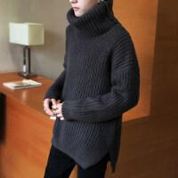 2018新款纯色高领毛衣男士秋冬季情侣装韩版针织毛衫宽松加厚外套